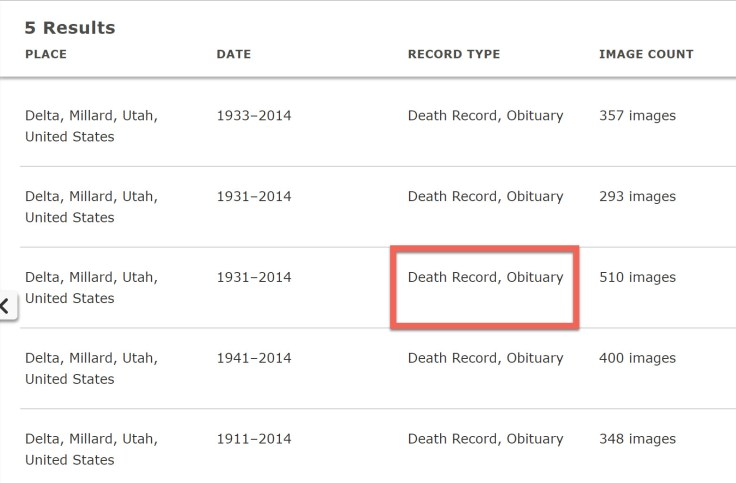 List of death records found with FamilySearch Expore Images tool.