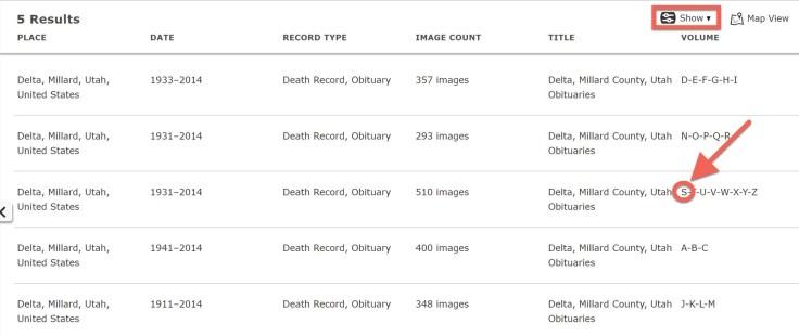 Screenshot showing menu options for Explore Images.