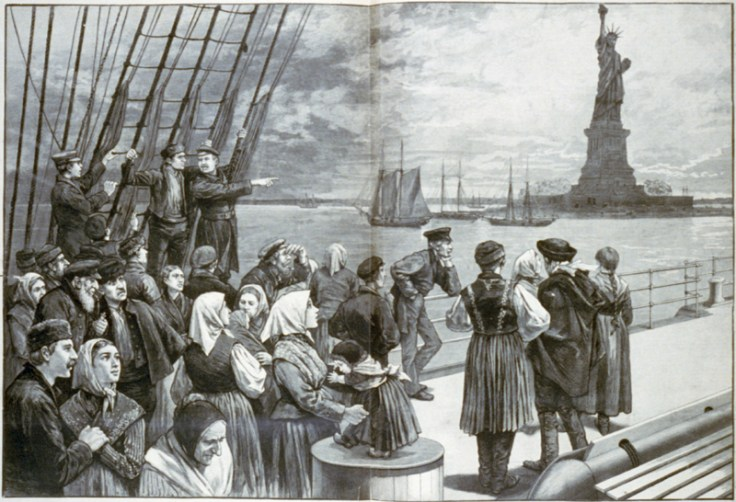 drawing of US immigrants