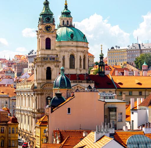 Colorful buildings in Prague.