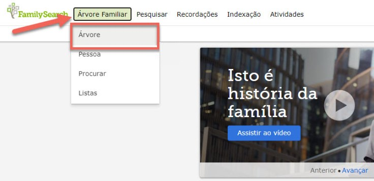 Captura de tela do menu de navegação do FamilySearch.
