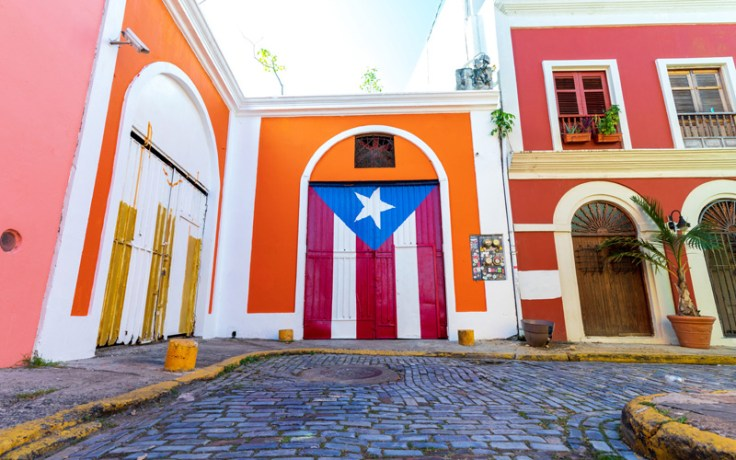 A puerto rican flag painted on a door