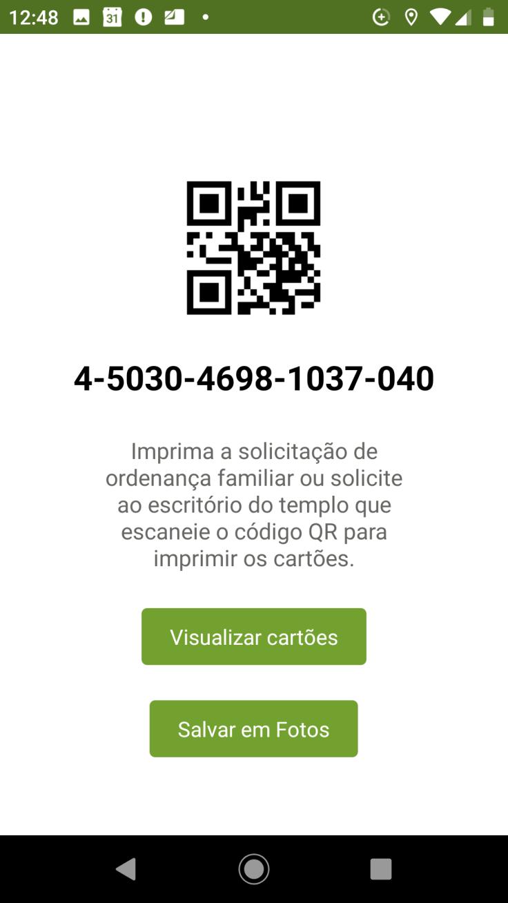 Captura de tela de código QR de um celular com sistema android para imprimir reservas do templo.