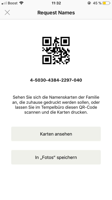 Screenshot eines QR-Codes zum Drucken der Reservierung von heiligen Handlungen über ein iOS-Gerät.