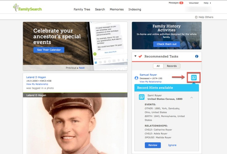 A screenshot of the FamilySearch home page.