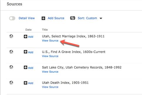 Screenshot of view source on source list