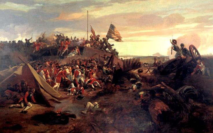 a depiction of a revolutionary war battle.