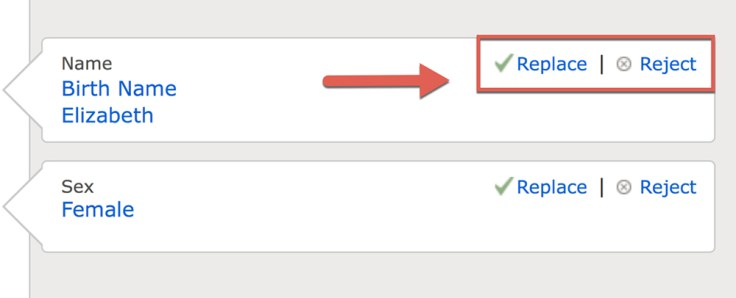 Screenshot of replace and reject options on merging page.