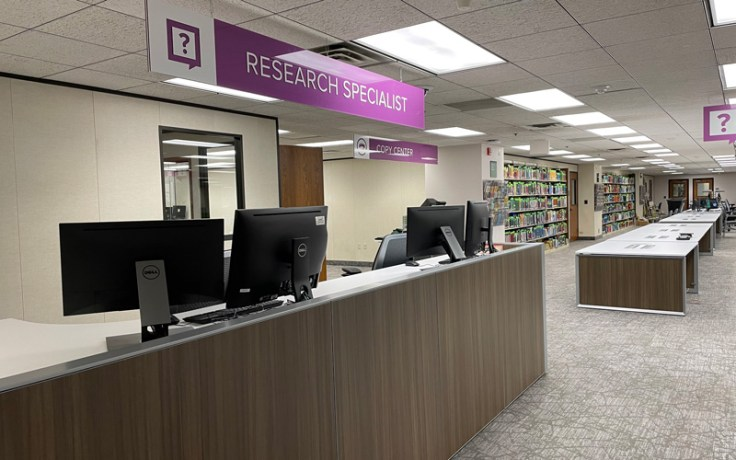 Research specialist desk at the library downtown.