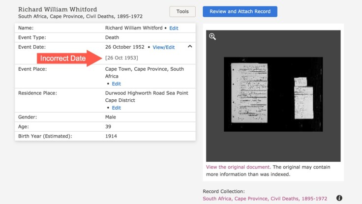 Incorrect date indexed record screenshot