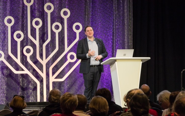 A man speaks at RootsTech