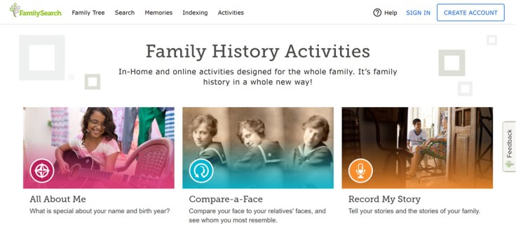 Screenshot of FamilySearch.org new header.