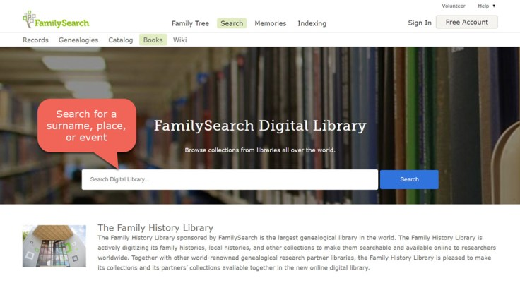 Searching for a family history book. FamilySearch Digital Library.