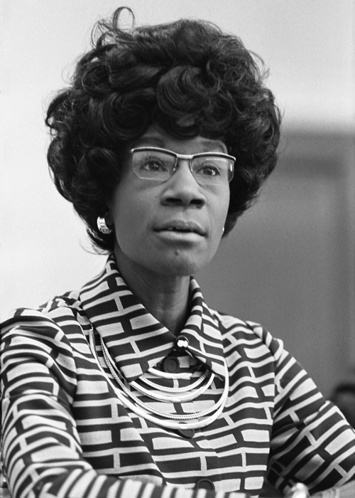 an image of African American woman Shirley Chisholm.