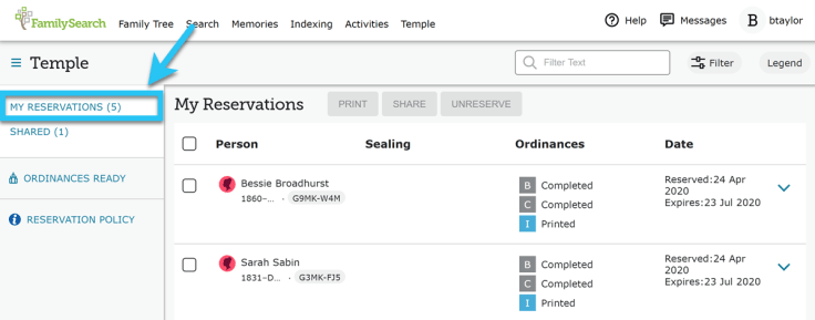 My Reservations tab on FamilySearch, showing reserved family names.