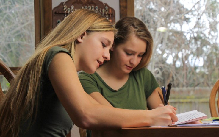 Two girls write in a journal.