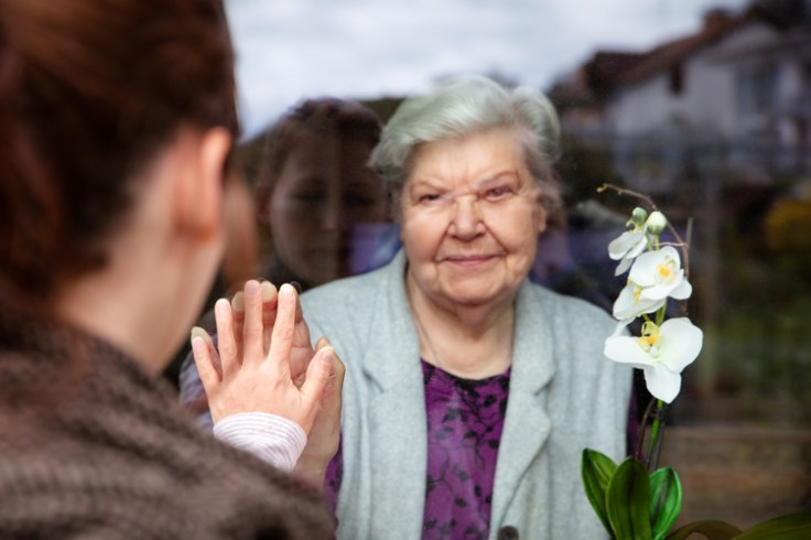 granddaughter visits grandmother, separated only by glass. write in your covid diary about visiting loved ones