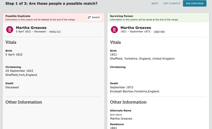 merging updates familysearch