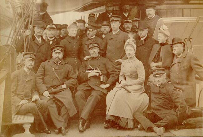 a group of Swedish family members on a boat.