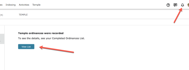 Screenshot of Temple notifications