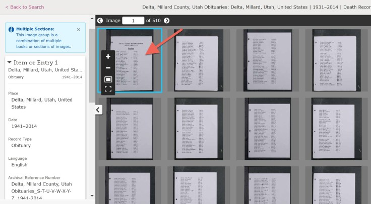Browsing record images using FamilySearch new tool.