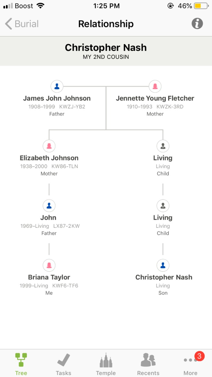 Screenshot of relationship viewer feature on FamilySearch app.