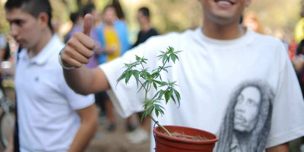 A marijuana enthusiast shows his support.
