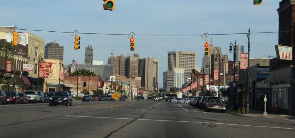 Looking down Michigan Avenue in the Corktown district of Detroit, Michigan.