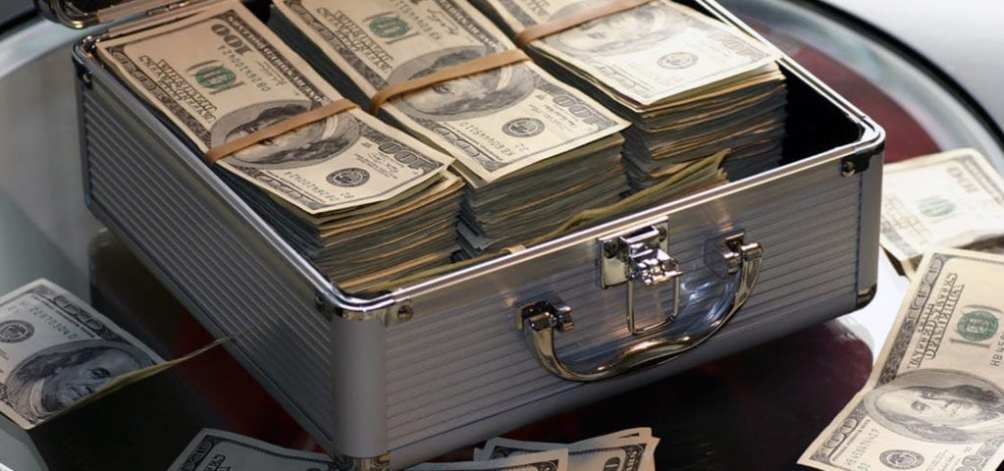 A secure briefcase filled with cash dollars.