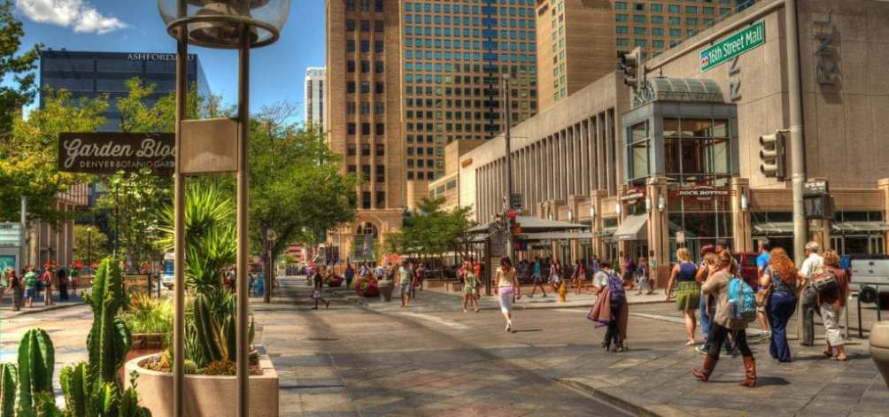 The 16th St. Mall in downtown Denver, Colorado.