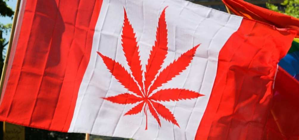 Canada's flag with a cannabis leaf shape instead of the usual maple leaf.