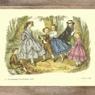This image is of a fashion plate dated 1863