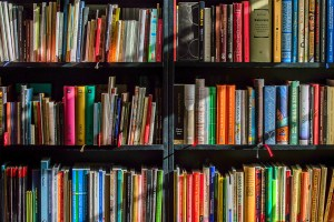 A bookshelf full of colourful books