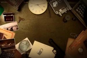 An overhead shot of a detective's desk.