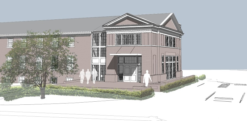 The computer-generated version of the 2014 addition to the Fredericksburg Presbyterian Church.