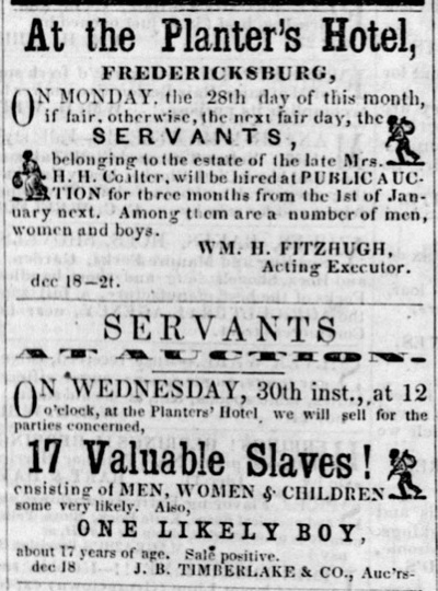 This poster references a slave sale that occurred at the Planter's Hotel, which was located at the site of the current Butchers Shop.
