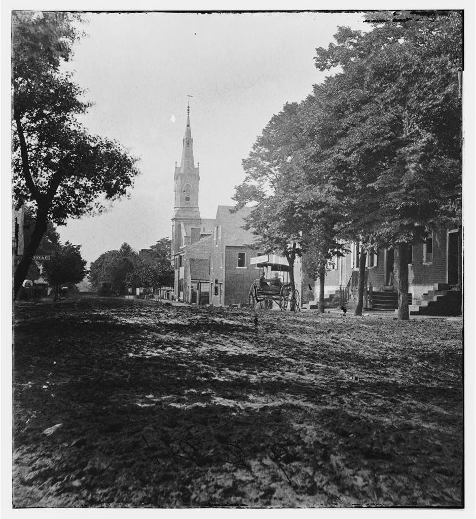 A view from down Princess Anne Street, you can see the spire of the Baptist Church built by the White Population of the old site Shiloh Church.