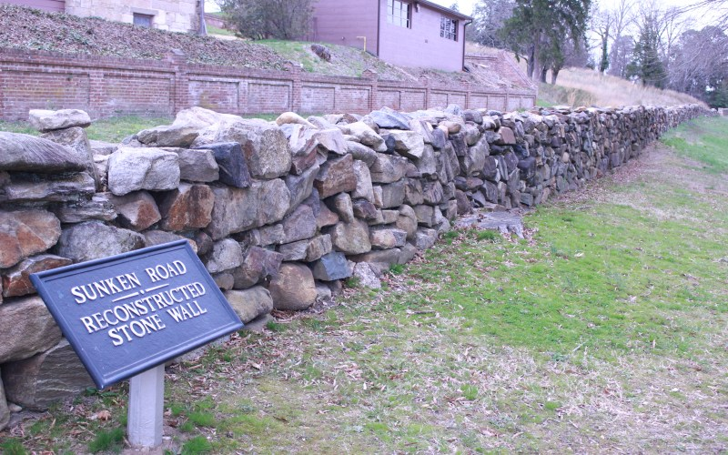 pictured here is the wall alongside sunken road trail
