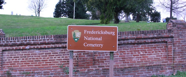 Pictured here is the Fredericksburg National Cemetery Sign