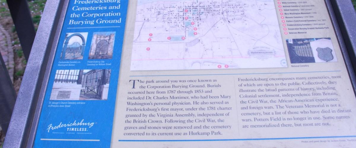 Pictured is Fredericksburg Cooperation Burying Ground State Marker