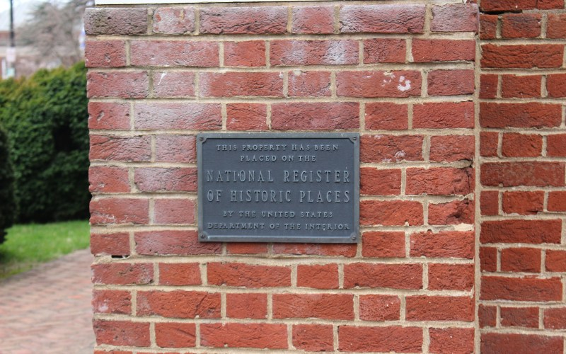Pictured here is the National Register plaque for Fredericksburg Presbyterian Church