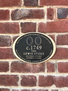 Picture of the Lewis Store State Marker on the outside of the building