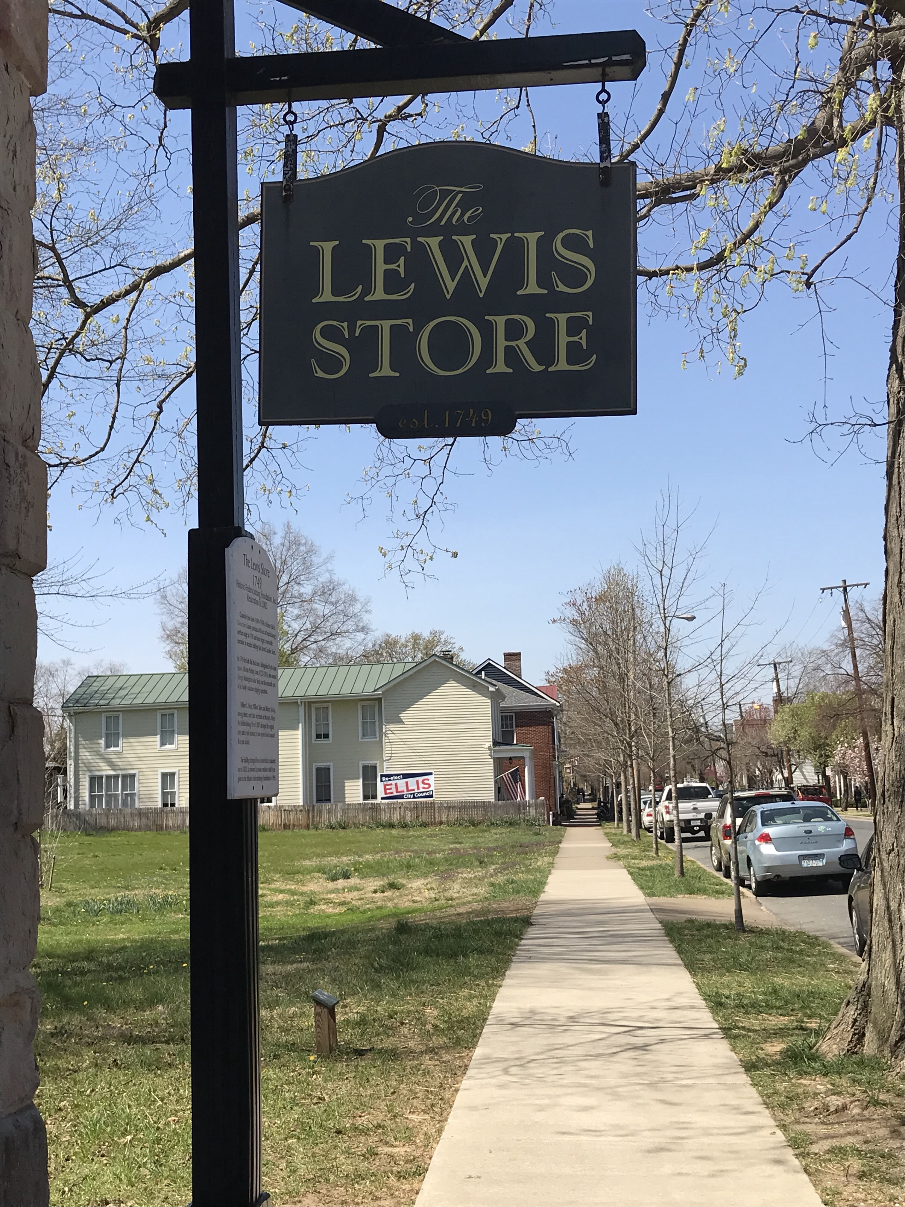 Picture of sign outside of the Lewis Store