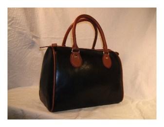 ボストンバッグ、ヌメ革、黒、