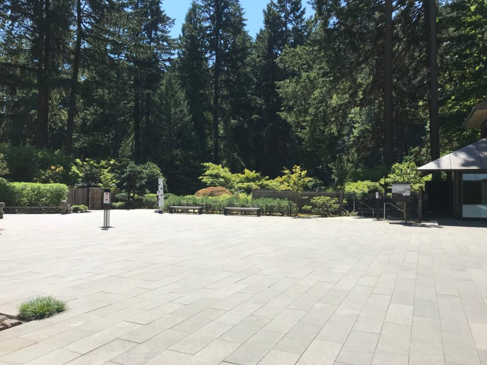 Photo of an empty courtyard plaza at the Portland Japanese Garden.
