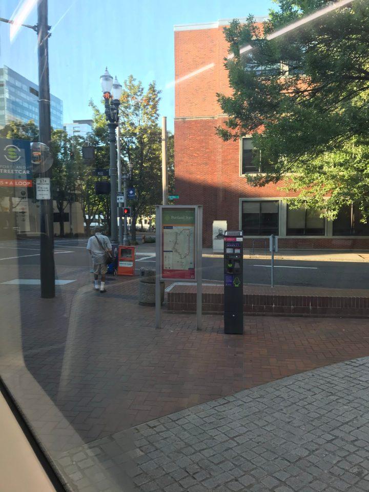 Photo of a new Portland Streetcar map at the PSU Urban Center platform.