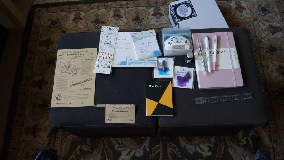 Photo of assorted stationery and accessories from Maido in a Box Volume 1.
