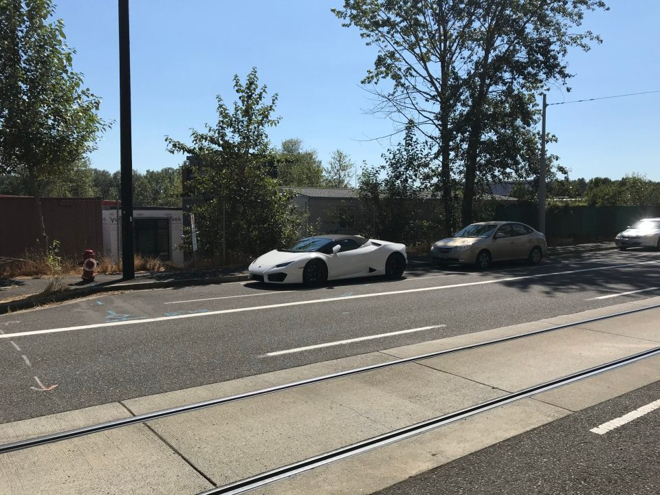 Photo of a Lamborghini parked on S Bond Ave.