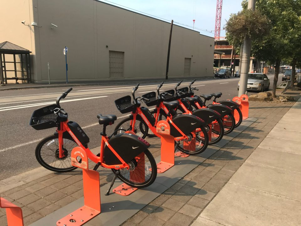 Photo of new BIKETOWN eBikes at a dock.