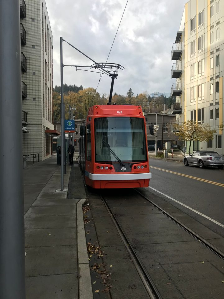 Photo of Portland Streetcar 024 back in service following significant damage from a derailment.